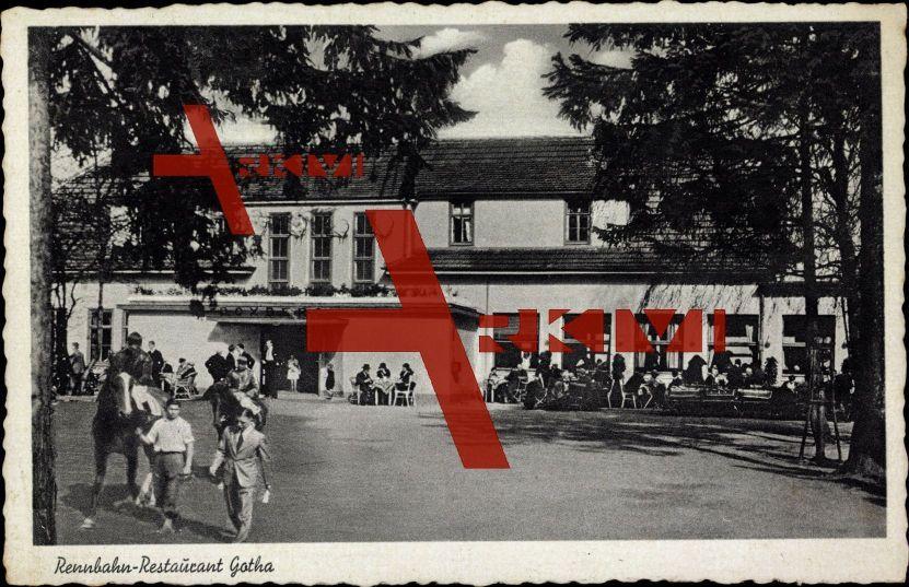 Gotha, Blick auf die Rennbahn Restaurant, Terrasse; ungelaufen, sehr guter Zustand; PLZ 99867