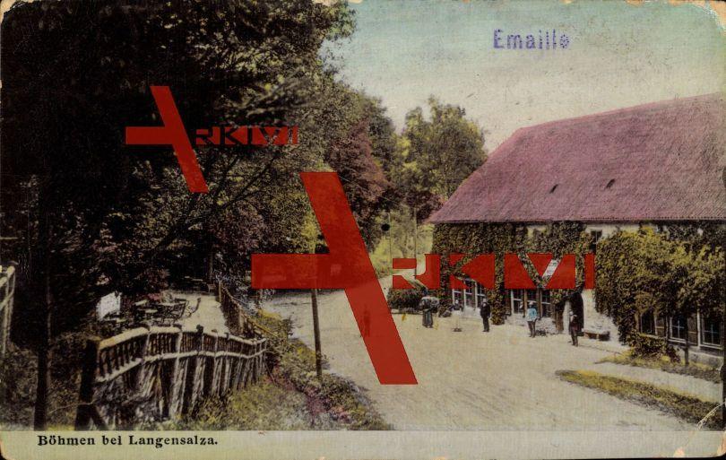 Böhmen Bad Langensalza, Blick zum Gasthaus; ungelaufen, Eckknick rechts unten, sonst guter Zustand; PLZ 99947