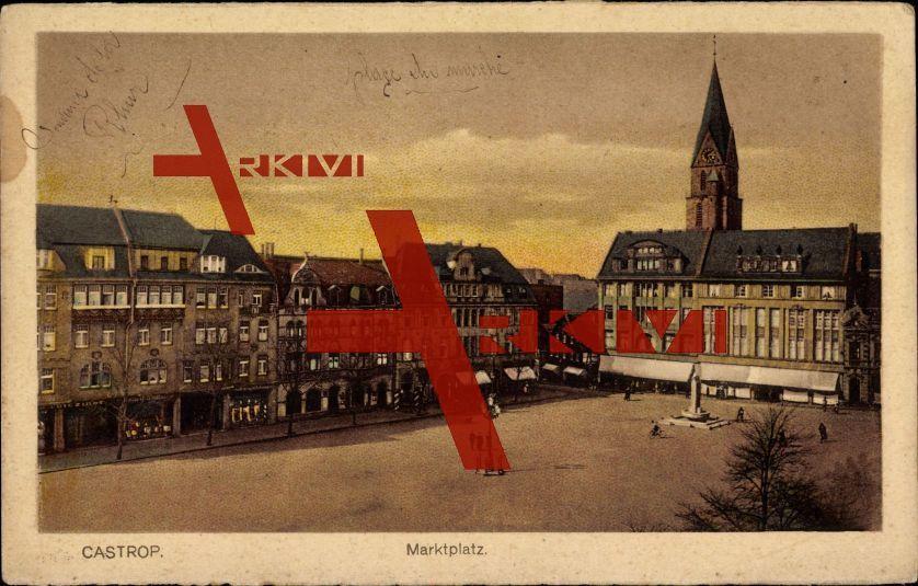 Castrop Rauxel, Blick auf den Marktplatz, Brunnen; ungelaufen, Rückseite beschrieben, datiert 1924, fleckig, sonst guter Zustand; PLZ 445