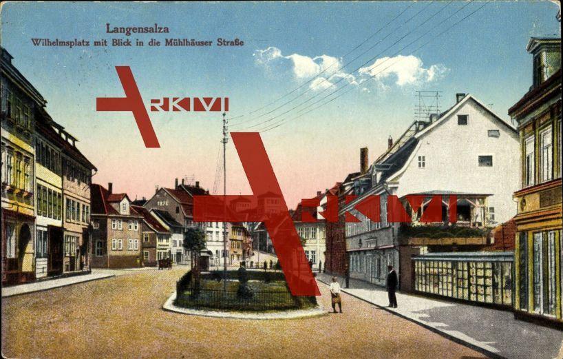 Bad Langensalza, Wilhelmsplatz, Mühlhäuser Straße; gelaufen 1939, sehr guter Zustand; PLZ 99947