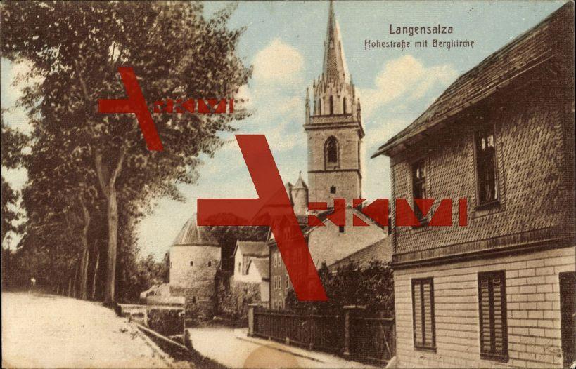 Bad Langensalza, Hohestraße mit Blick zur Bergkirche; gelaufen 1919, Briefmarke entfernt, sonst guter Zustand; PLZ 99947
