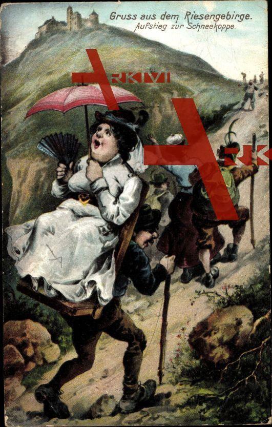 Schneekoppe Region Königgrätz, Wanderer b. Aufstieg; ungelaufen, datiert 1907, Rückseite beschrieben, sehr guter Zustand