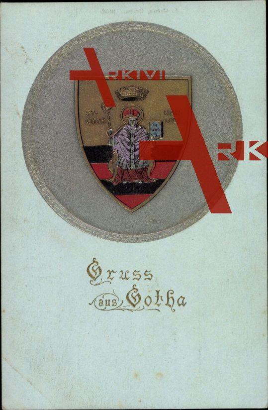 Wappen Gotha, St Gothardus,Heiliger Gotthard ; ungelaufen, fleckig, sonst guter Zustand