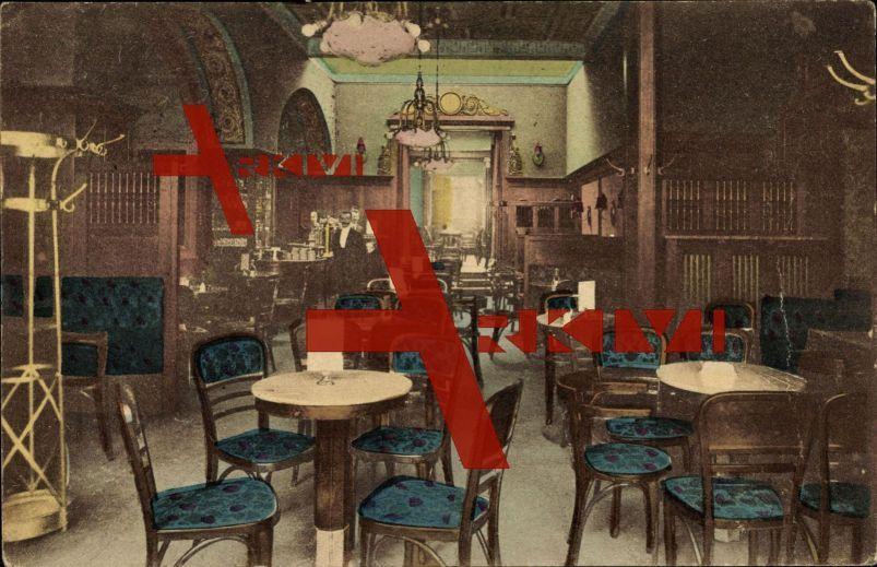 Gotha, Kaffeehaus und Konditorei Leidel, Speisesaal; gelaufen 1919, sehr guter Zustand