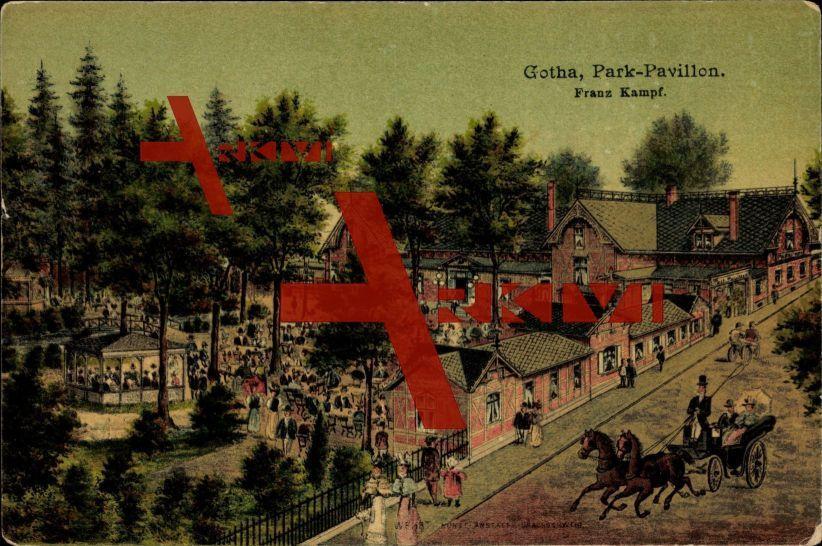 Gotha Thüringen, Park Pavillon, Franz Kampf, Totale; ungelaufen, Ecken bestoßen, sonst guter Zustand