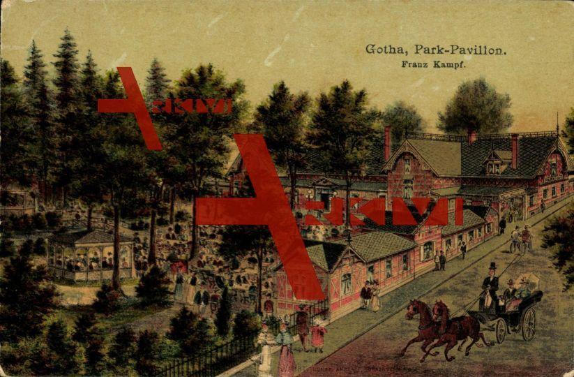 Gotha, Parkpavillon, Straßenseite, Terrassen,Kutsche; gelaufen 1906, Ecken bestoßen, sonst guter Zustand