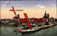 Stralsund, Blick auf den Hafen und die Stadt; ungelaufen, Albumspuren, sonst guter Zustand; PLZ 184