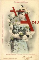 Langage des Fleurs, Boule de Neige, Blumen, Frau; gelaufen 1903, fleckig, rückseitig Klebe- u. Papierreste, sonst guter Zustand