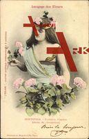 Langage des Fleurs, Hortensia, Froideur, Caprice; gelaufen 1903, Briefmarke entfernt, sonst guter Zustand