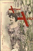 Langage des Fleurs, Glycine, Attachement,Frau,Blumen; gelaufen 1903, Eckknicke, Abriebspur unten, sonst guter Zustand