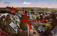 Rumburg Aussig, Blick auf die Ortschaft, Industrie; gelaufen 1925, Ecken bestoßen, Eckknick rechts oben, sonst guter Zustand