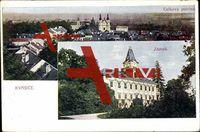Kvasice, Zámek, Celkový pohled, Blick auf die Stadt; gelaufen 1924, sehr guter Zustand