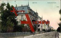 Gotha, Blick in die Seebachstrasse, Wohnhäuser; gelaufen 1907, Stempelspur, sonst guter Zustand; PLZ 99867