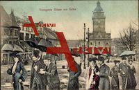 Gotha, Verregnete Grüße, Regenschirm, Platz; gelaufen 1905, sehr guter Zustand; PLZ 99867