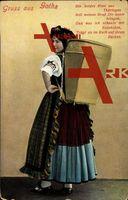Leporello Gotha, Museum Markt, Thüringer Tracht; gelaufen 1911, Ecken bestoßen, Eckknick rechts oben, sonst guter Zustand