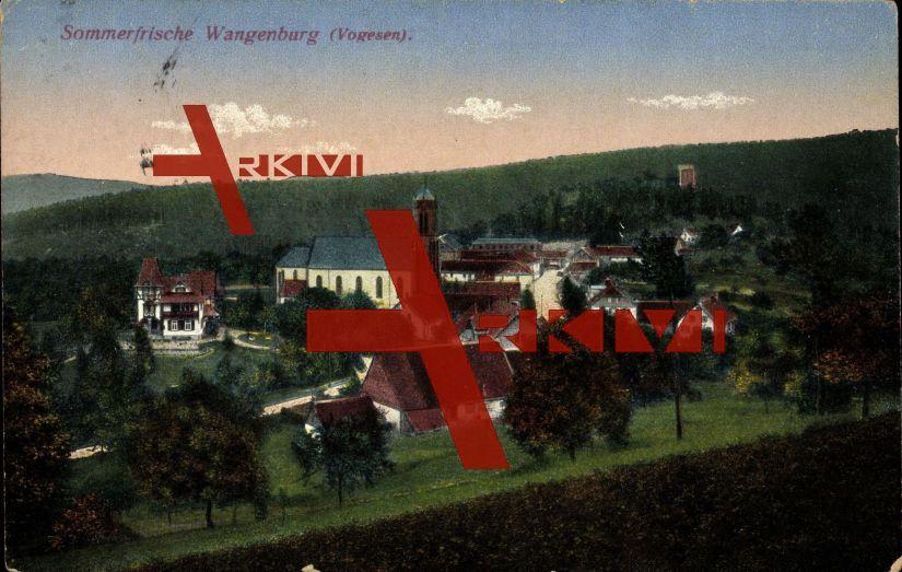 Wangenburg Bas Rhin Vogesen, Blick zum Ort hin; gelaufen 1918, Stempelspur, Ecken bestoßen, sonst guter Zustand