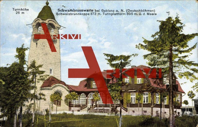 Gablonz Region Reichenberg, Schwarzbrunnwarte; gelaufen 1920, Eckknick rechts oben, fleckig, sonst guter Zustand