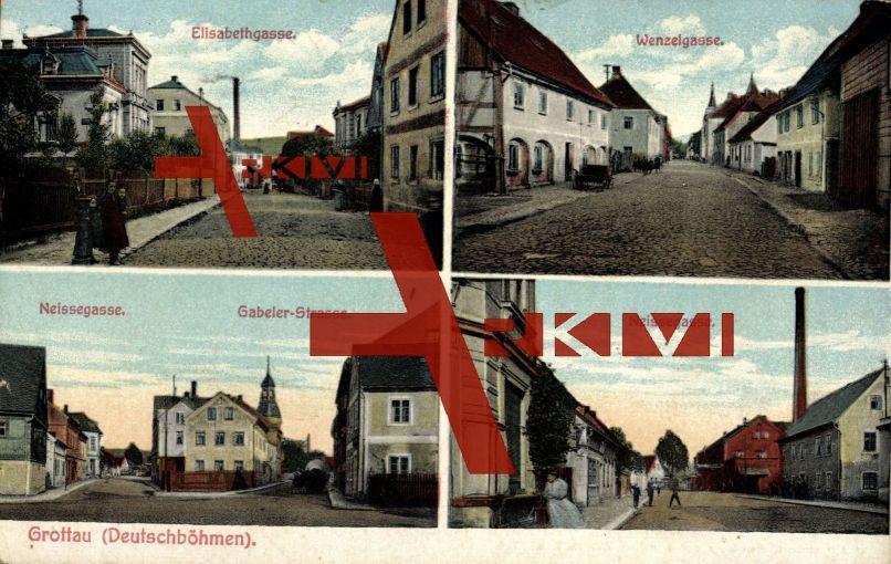 Grottau Reg. Reichenberg, Elisabethgasse,Neissegasse; gelaufen 1915, sehr guter Zustand