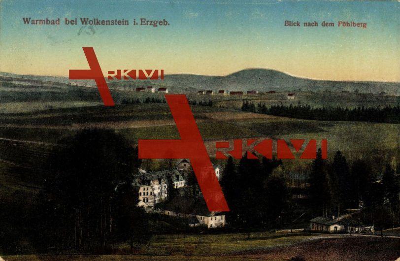 Wolkenstein Erzgebirge, Warmbad, Blick nach Pöhlberg; gelaufen 1917, Stempelspur, sonst guter Zustand; PLZ 09429