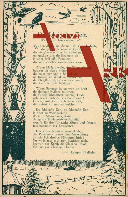 Liedkarten Erich Langer, Thalheim, De schännste Zeit