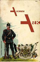 Wappen Soldat, Sachsen, Infanterie, Spitzhut, Gürtel, Trommel