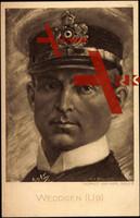 gezeichnetes Portrait von Kapitainleutnant Otto Weddigen, Kommandant von U 9 und U 29