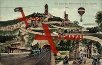 Zukunft Der Leipziger Scherbelberg, Heißluftballon,Autos,Dampflok,Schwebebahn