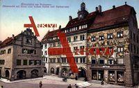 Konstanz Bodensee, Obermarkt mit Haus zum hohen Hafen und Barbarossa