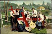 Ukrainische Typen, Volkstrachten, Musikinstrumente, Zither, Mandoline