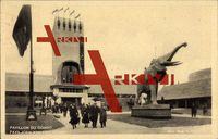 Brüssel, Weltausstellung 1935, Pavillon Kongo, Elefant, Besucher