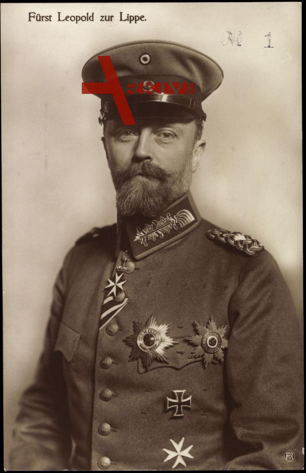 Fürst Leopold zur Lippe, Portrait, Uniform, Schirmmütze