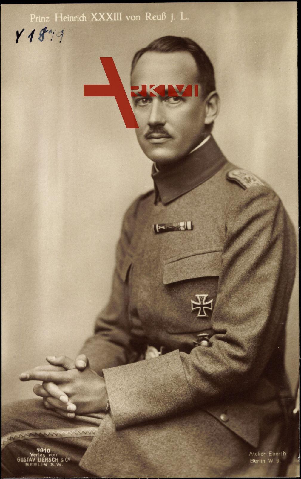 Prinz Heinrich XXXIII von Reuss jüngere Linie, Sitzportrait, Liersch 7910