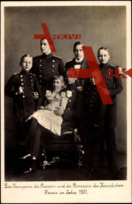 Kronprinz Wilhelm mit den Prinzen und der Prinzessin Viktoria Luise