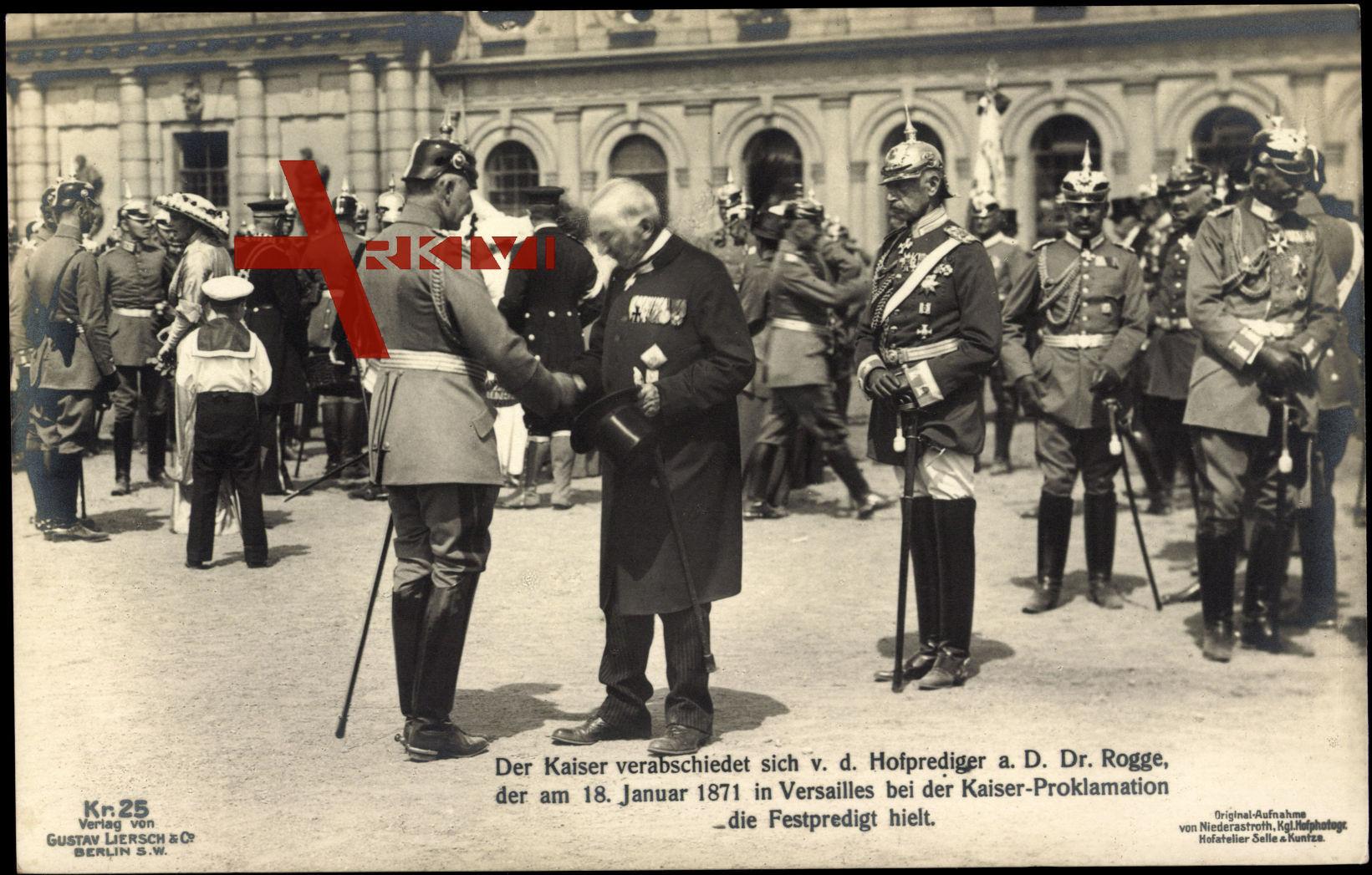 Kaiser Wilhelm II. verabschiedet sich vom Hofprediger
