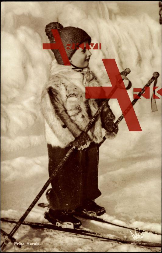 Prins Harald, Prinz Harald, Ski, Skistäbe, Wollmütze, Pelzjacke
