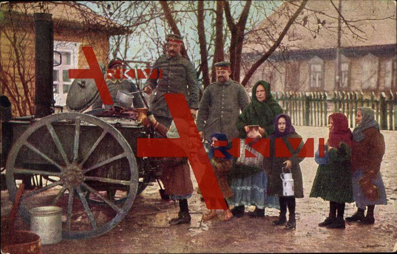 Krieg 1916, Verteilung von Mittagessen an die Bevölkerung, Soldaten