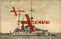 Kriegsschiff S.M.S. Kaiser Barbarossa im Hafen liegend