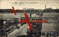 Köln, Schiffsbrücke, Deutz und Dampfer Barbarossa, Passagiere