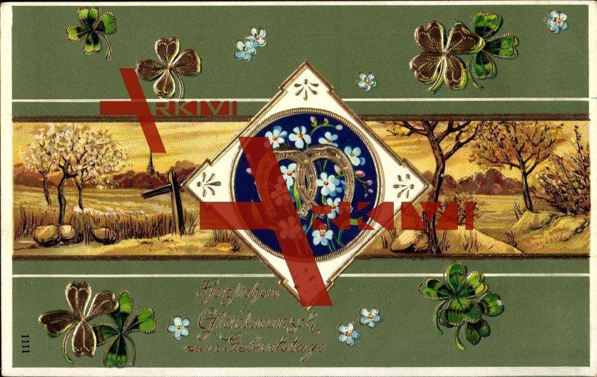 Glückwunsch Geburtstag, Hufeisen, Kleeblätter, Landschaft, Herbst