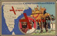 Landkarten Comptoirs des Indes, Colonies Francaises, Elefant, Einheimische