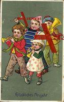 Glückliches Neujahr, Kinder machen Musik, Trompete, Tuba, Trommel