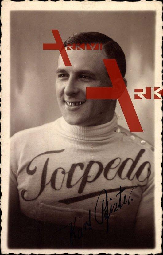 Rennfahrer Karl Pfister, 1925 in einem Pullover mit der Aufschrift Torpedo, Autogramm