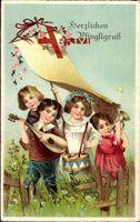 Glückwunsch Pfingsten, Kinder musizieren, Laute, Trommel, Horn