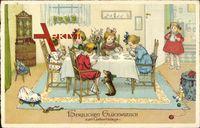 Herzlichen Glückwunsch zum Geburtstag, Kinder essen am Tisch, Spielzeug
