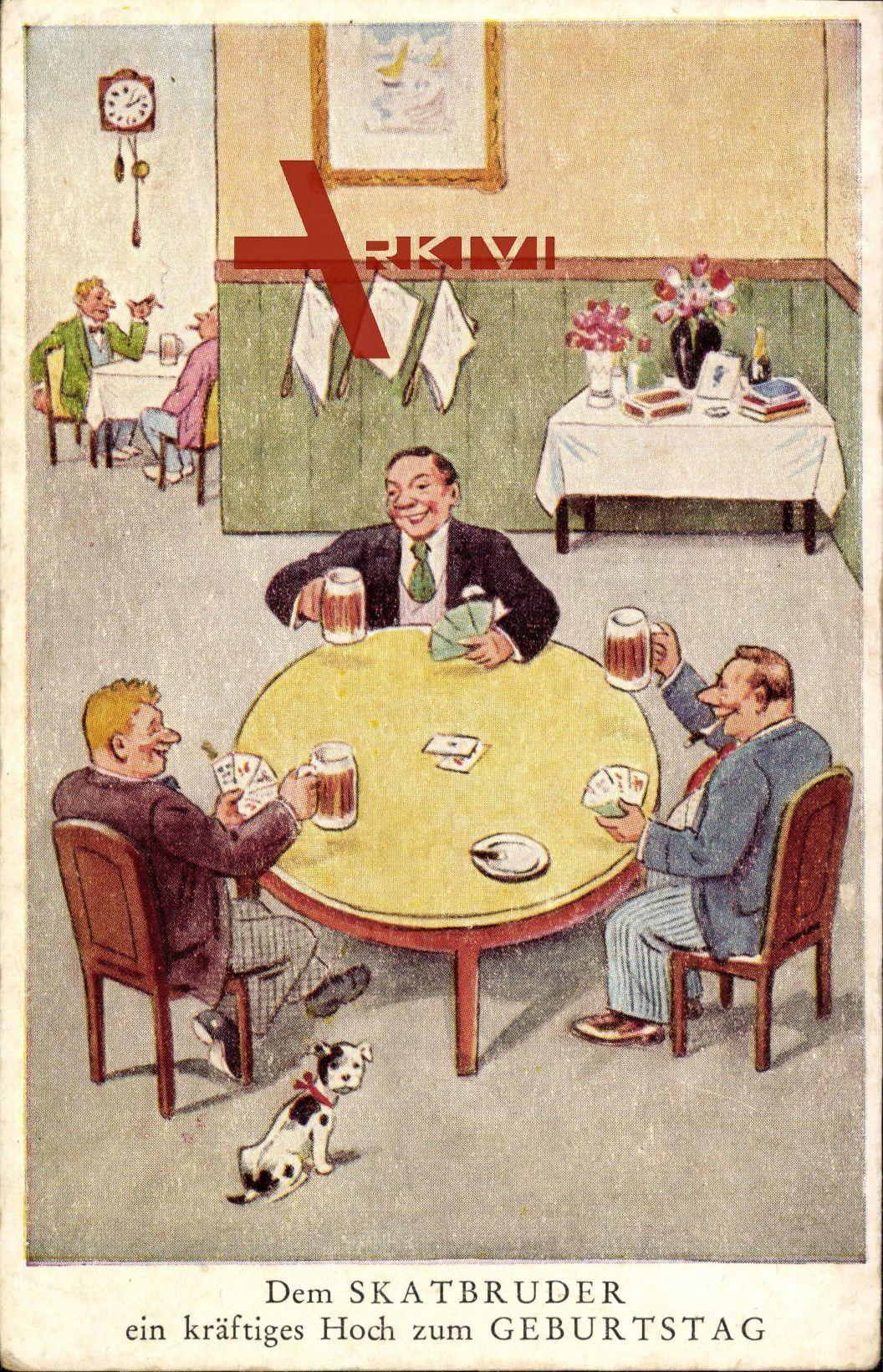 Gluckwunsch Geburtstag Skatbruder Manner Spielen Karten Bier Xl