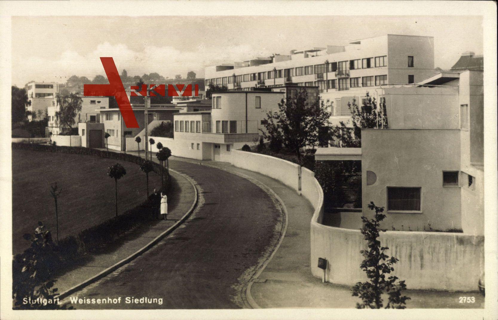 Stuttgart, Partie in der Weissenhofsiedlung, Wohnhäuser