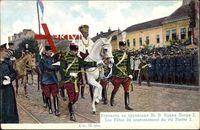 König Peter I. Karadjordjevic von Jugoslawien auf einem Pferd, Parade