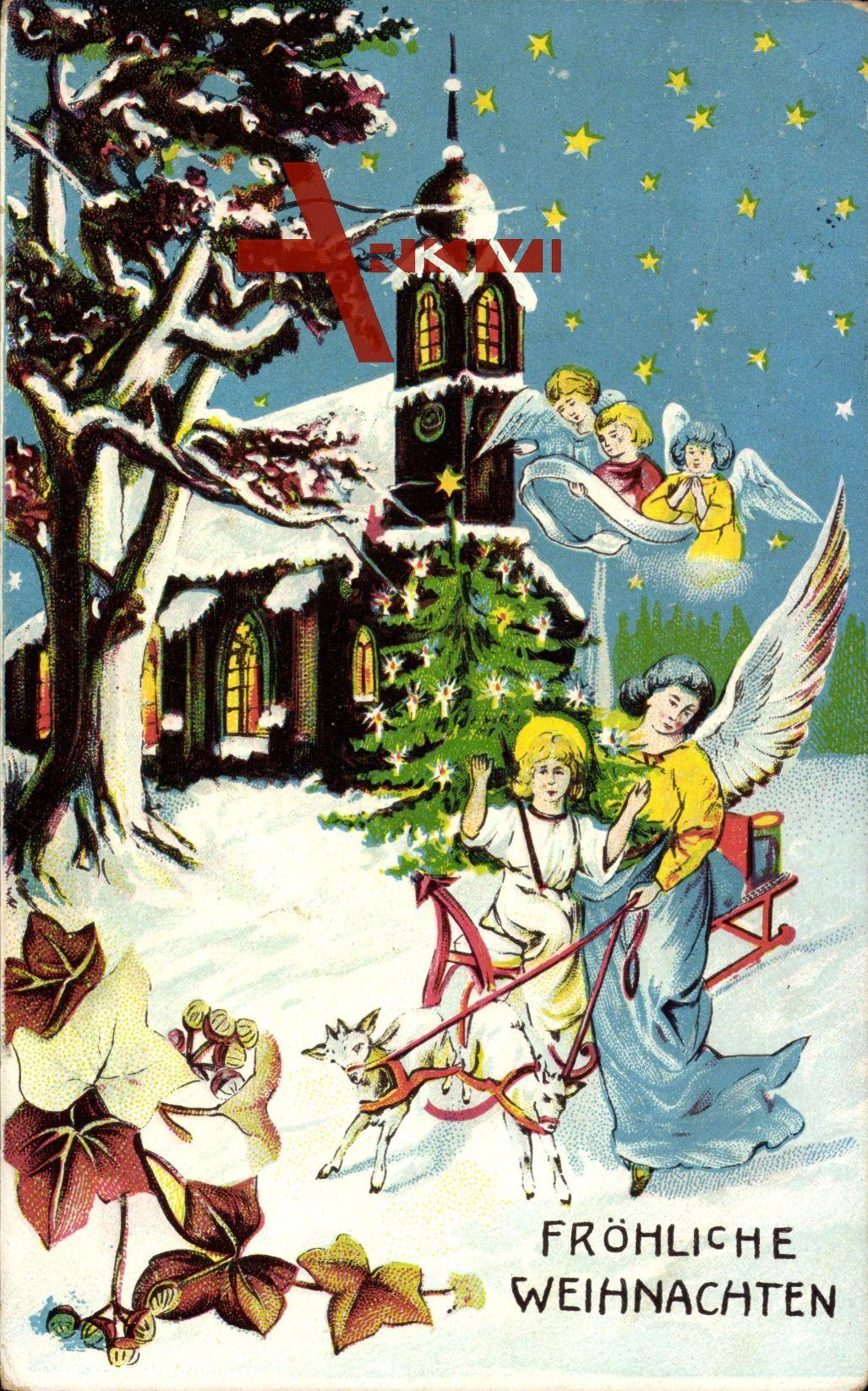 Frohe Weihnachten Jesus.Frohe Weihnachten Engel Kirche Jesus Ziegen Sterne