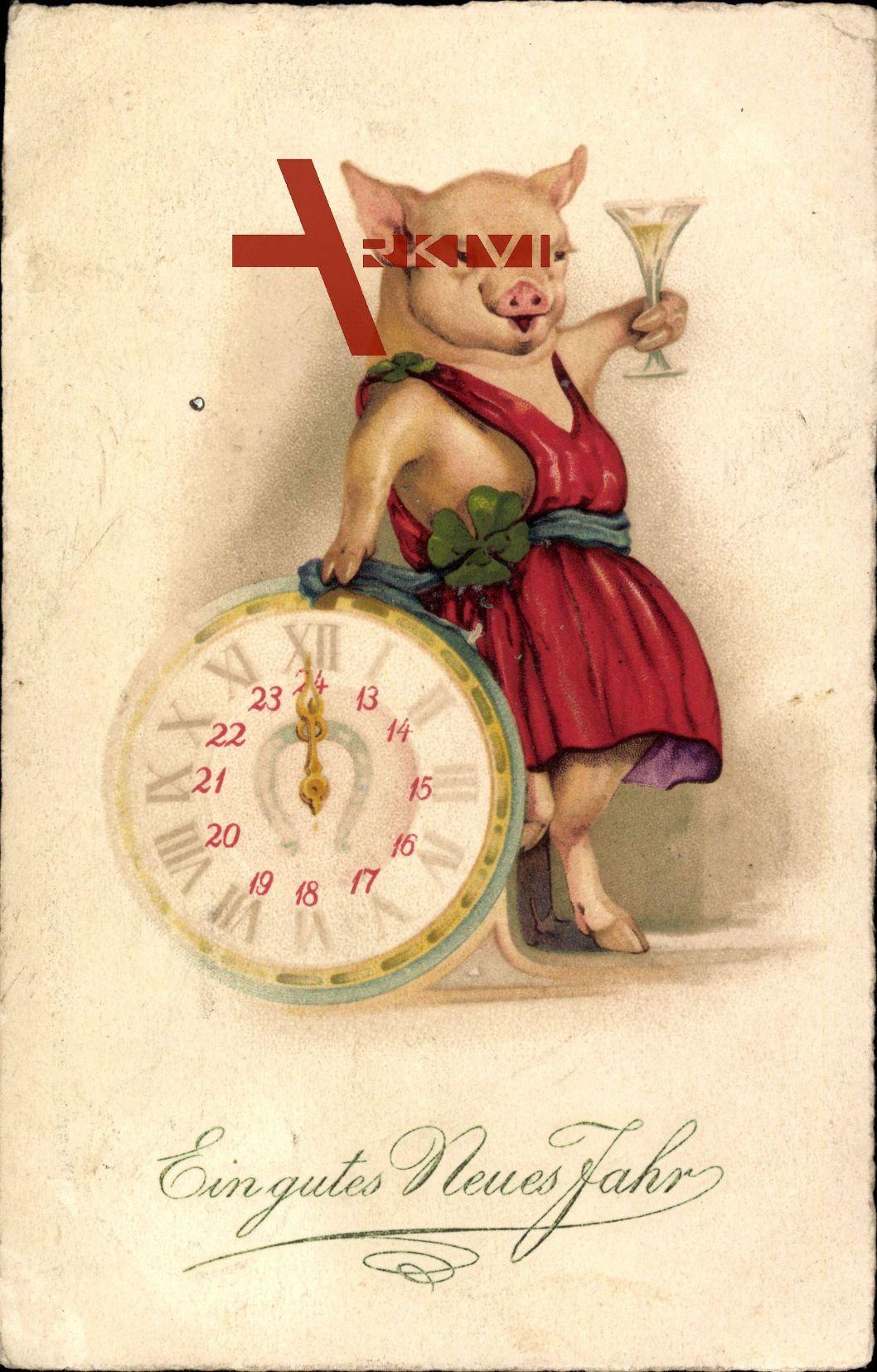 Prosit Neujahr Schwein Mit Sektglas Rotes Kleid Uhr Auf