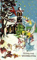 Frohe Weihnachten, Engel, Kirche, Jesus, Ziegen, Sterne